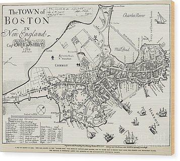 Boston Map, 1722 Wood Print by Granger