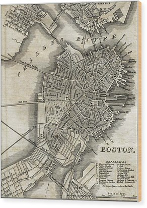 Boston Map Of 1842 Wood Print by George Pedro