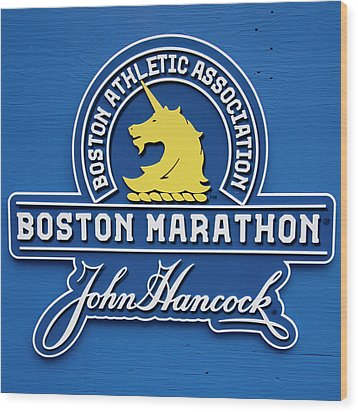 Wood Print featuring the photograph Boston Marathon - Boston Athletic Association by Joann Vitali