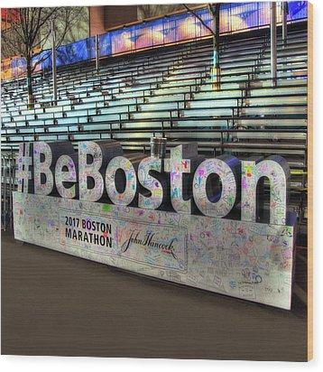 Wood Print featuring the photograph Boston Marathon Sign by Joann Vitali