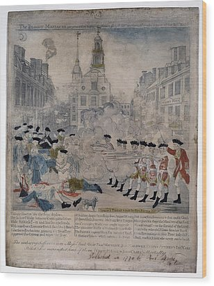 Boston Massacre.  British Troops Shoot Wood Print by Everett