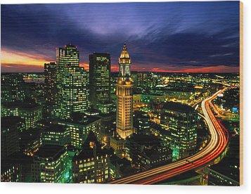 Boston Night Aerial With Time Exposure Wood Print by Joel Sartore