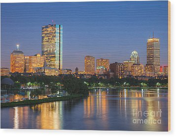 Boston Night Skyline II Wood Print