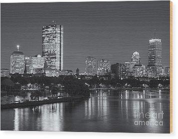 Boston Night Skyline V Wood Print by Clarence Holmes