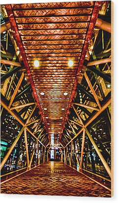 Boston Nightscape Wood Print by Andrew Kubica