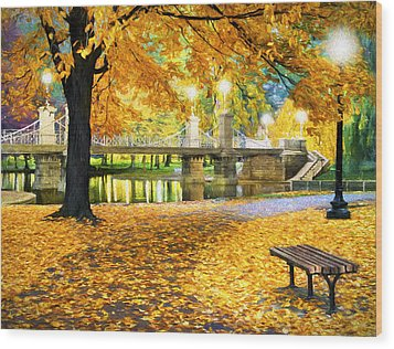Boston Public Garden Wood Print by James Charles