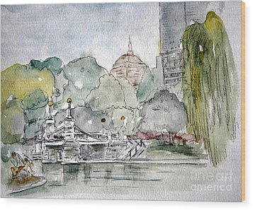 Boston Public Gardens Bridge Wood Print