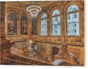 Wood Print featuring the photograph Boston Public Library Architecture by Joann Vitali