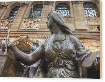 Wood Print featuring the photograph Boston Public Library Lady Sculpture by Joann Vitali