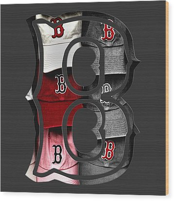 Boston Red Sox B Logo Wood Print by Joann Vitali