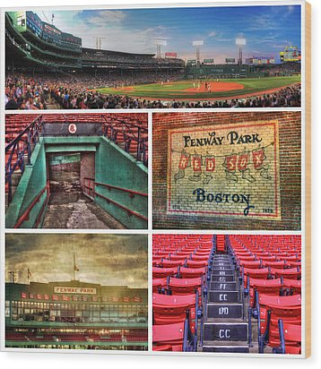 Boston Red Sox Collage - Fenway Park Wood Print by Joann Vitali