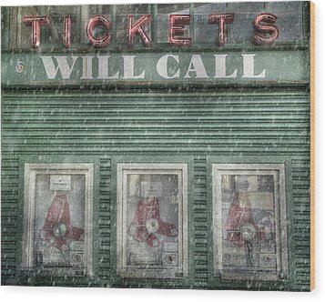 Wood Print featuring the photograph Boston Red Sox Fenway Park Ticket Booth In Winter by Joann Vitali