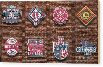 Boston Red Sox World Series Emblems Wood Print