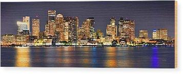 Boston Skyline At Night Panorama Wood Print