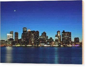 Boston Skyline Wood Print by By Eric Lorentzen-Newberg