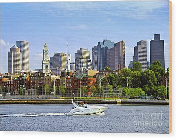 Boston Skyline Wood Print by Elena Elisseeva