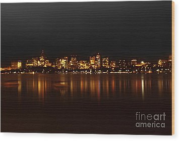 Boston Skyline Wood Print by Frank Garciarubio