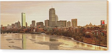 Boston Skyline On A December Morning Wood Print by Mitchell R Grosky