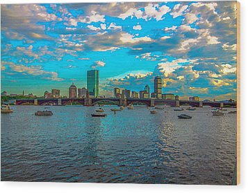 Boston Skyline Painting Effect Wood Print by Brian MacLean