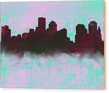 Boston Skyline Sky Blue  Wood Print by Enki Art