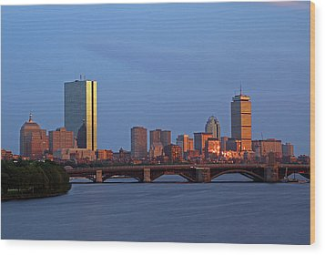 Boston Skyline Sunset Wood Print by Juergen Roth
