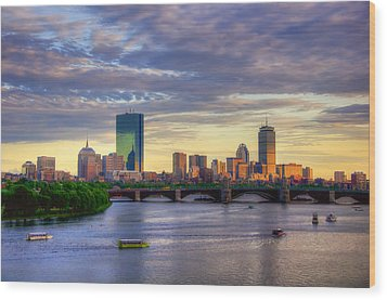 Boston Skyline Sunset Over Back Bay Wood Print by Joann Vitali