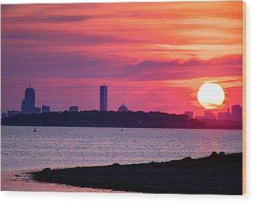 Boston Skyline Worlds End Wood Print