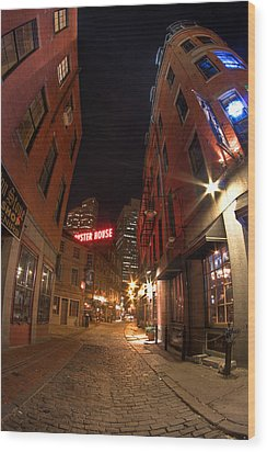Boston Street Wood Print by Joshua Ball
