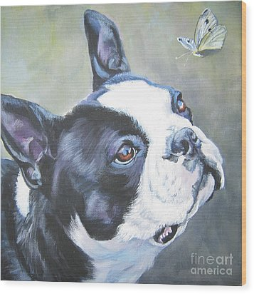 boston Terrier butterfly Wood Print