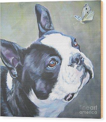 boston Terrier butterfly Wood Print by Lee Ann Shepard