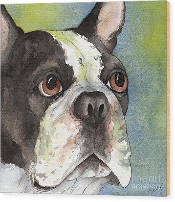 Boston Terrier Close Up Wood Print by Cherilynn Wood