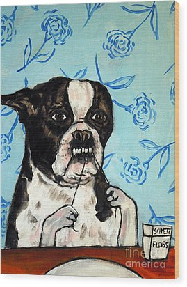 Boston Terrier Flossing Wood Print by Jay  Schmetz