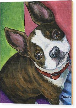 Boston Terrier Looking Up Wood Print by Dottie Dracos