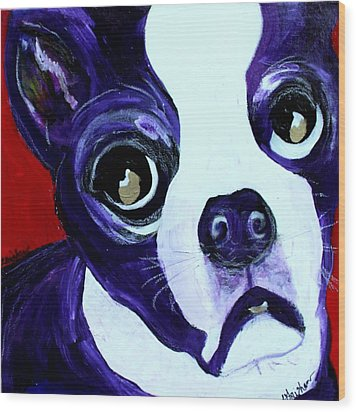 Boston Terrier- Lucy Wood Print by Laura  Grisham