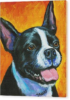 Boston Terrier On Orange Wood Print by Dottie Dracos
