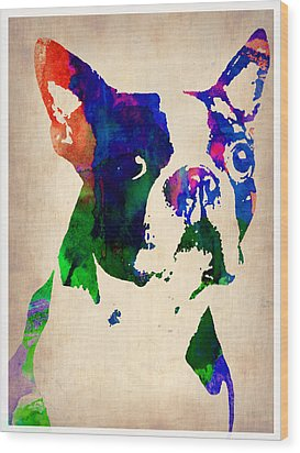 Boston Terrier Watercolor Wood Print by Naxart Studio