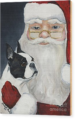 Boston Terrier With Santa Wood Print