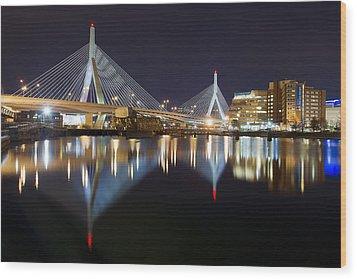 Boston Zakim Memorial Bridge Nightscape II Wood Print by Shane Psaltis