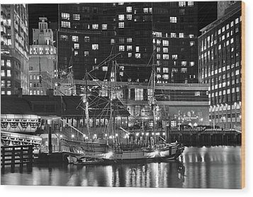 Wood Print featuring the photograph Bostonian Black And White by Frozen in Time Fine Art Photography