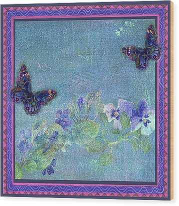 Wood Print featuring the painting Botanical And Colorful Butterflies by Judith Cheng