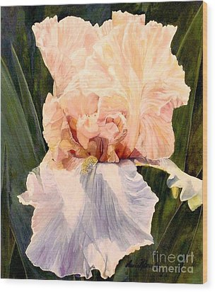 Botanical Peach Iris Wood Print