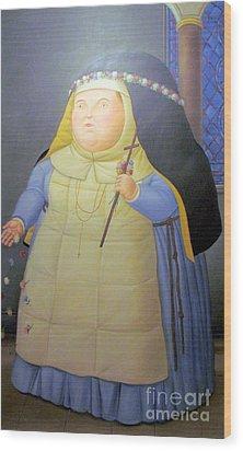 Botero Nunn In Blue Wood Print by Ted Pollard