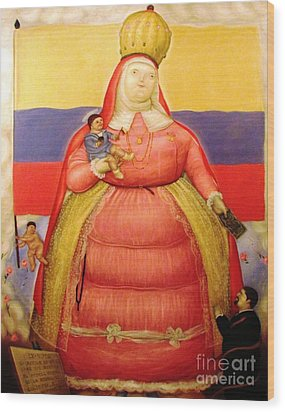 Botero Woman And Child Wood Print by Ted Pollard
