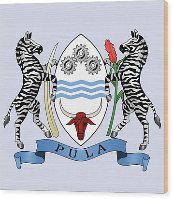 Wood Print featuring the drawing Botswana Coat Of Arms by Movie Poster Prints