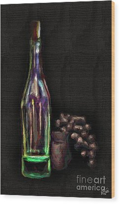 Wood Print featuring the photograph Bottle And Grapes by Walt Foegelle