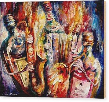 Bottle Jazz Wood Print by Leonid Afremov
