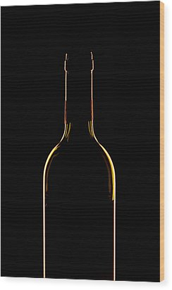Bottle Of Wine Wood Print