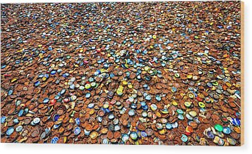 Bottlecap Alley Wood Print