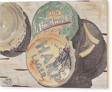 Bottlecaps And Barfly Wood Print by Ken Powers
