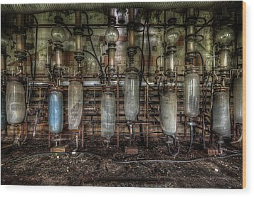Wood Print featuring the digital art Bottles Hanging On The Wall  by Nathan Wright